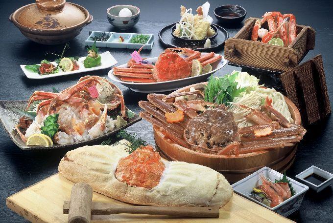 活ブランド松葉ガニフルコースの料理イメージ。