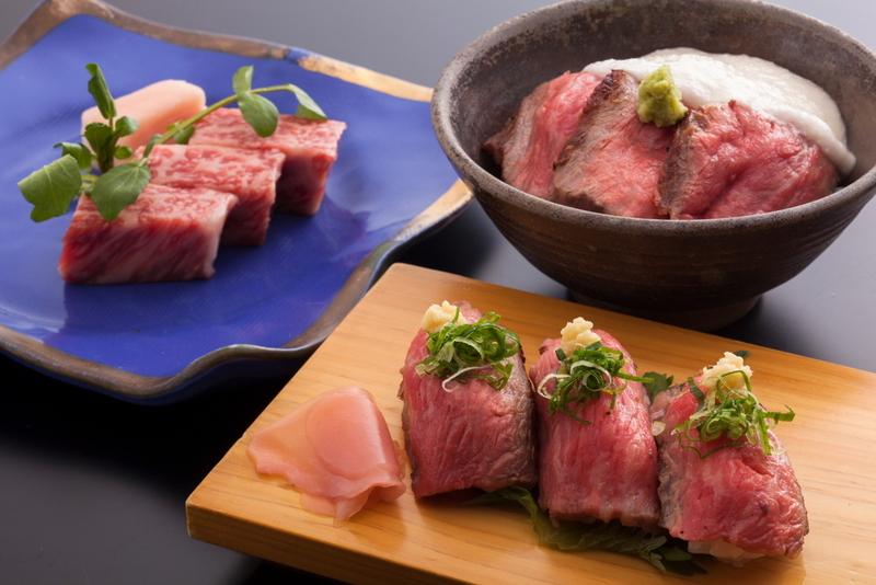 【ステーキ&炙りにぎり&牛とろ丼】からお好きな品を2品どうぞ♪