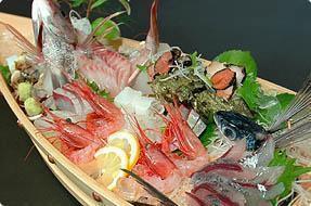船盛りは日本海でとれた新鮮なお魚を