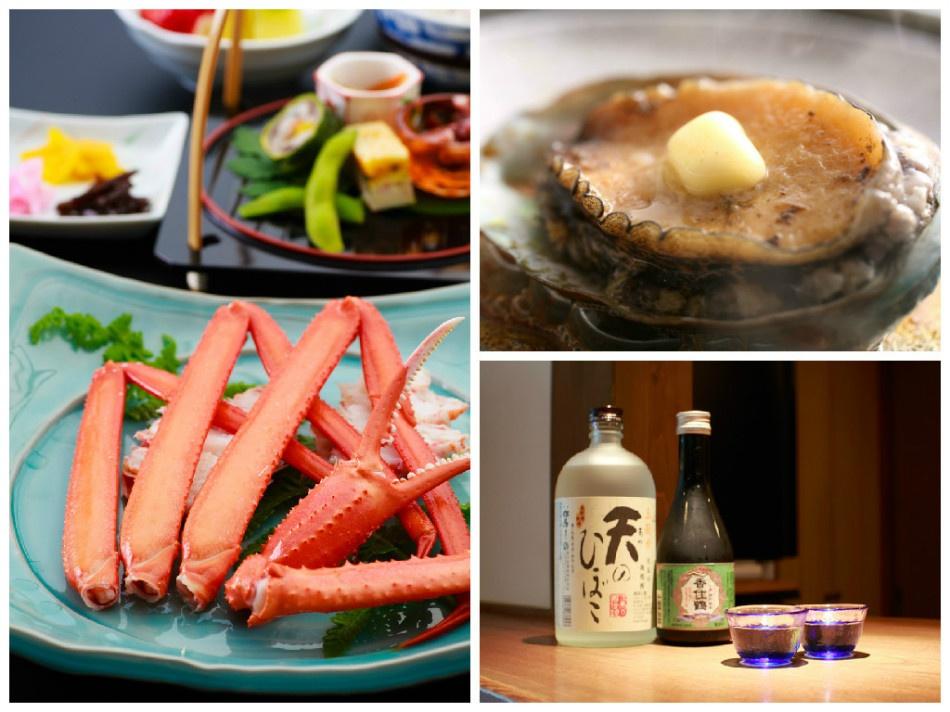 日本海のカニと活けアワビのバター焼きをお好きなお酒で、キュツ!